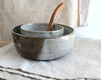 Small Vintage Studio Pottery Bowls And Wood Spoon