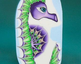 Medium Seahorse Polymer Clay Cane- 'Deep Blue Sea' series (46C)