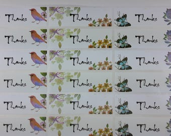 Thank you, thank you Stickers, decals white Stickers, butterflies, set of self-adhesive decals stickers