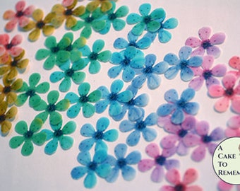 """48 wafer paper rainbow cherry blossoms, 1"""" across. Edible flowers for wedding cakes, cupcake toppers, and cake pops. Cake decorating ideas"""