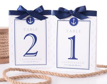 Nautical Wedding Table Number Tent Cards - Nautical Wedding Table Markers - Nautical Wedding Decor - Nautical Wedding Table Tents - #wtn-215