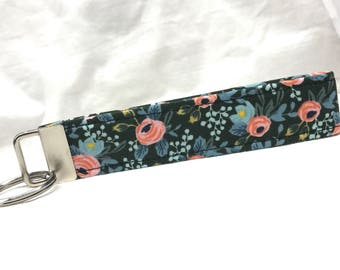 Rifle Paper Co. Key Fob Les Fleurs Fabric Wedding Rosa Floral Hunter Green Black