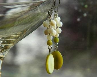 Lime in the Coconut ~ Bahama inspired MOP Earrings, Beach, lime green, white, Seashells