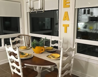 Kitchen EAT or TEA wood sign, home decor wooden sign, office kitchen, restaurant, bar -  wall letters. Yellow painted sign, color options
