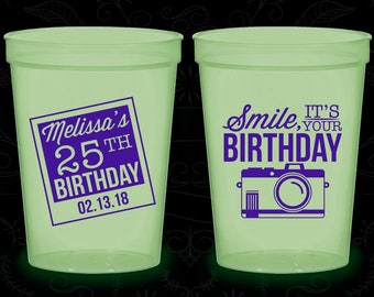 25th Birthday Glow in the Dark Cups, Smile, its your birthday, vintage camera, Glow Birthday Party (20053)