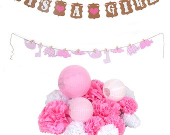 Baby Shower Banner Boy or Girl pompom birthday Party Garland Hanging Decoration