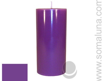 3 x 6.5 Purple Classic Hand-poured Unscented Pillar Candles Solid Color