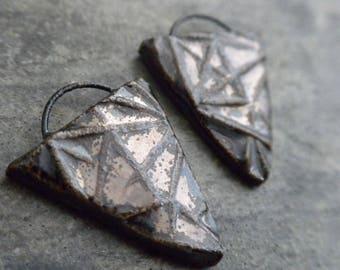 Facets- handmade artisan ceramic triangle earring bead pair metallic gray