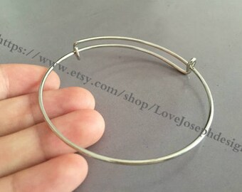 30pieces Adjustable 64mm silver Bangle Wire Bracelet Expandable Bangle Bracelets (#0166)