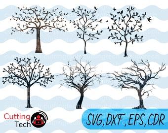 Tree SVG File, Tree Clipart, Tree Cut File, Tree decal, Tree Cutting File, Tree Cricut, Tree Cameo, Tree Silhouette Svg, Tree Vector Svg