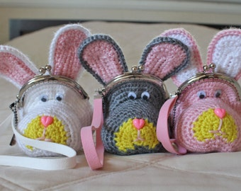 Rabbit coin purse in 3 different colors | crochet bag | bunny wristlet | choose your strap length & color | Easter and faire purse/clutch.