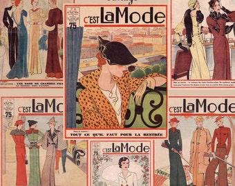 Vintage French Fashion Magazine Covers Digital Collage Sheet 1930's C'est La Mode -INSTANT DOWNLOAD-