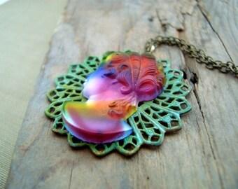 Rainbow Cameo Necklace Patina Brass Steampunk Brass Jewelry Vintage Style Statement Jewelry Gifts Under 50