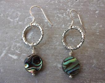 Paua Shell Dangle Earrings With Sterling Silver Earwires