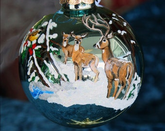 Hand painted Christmas ornament holiday scene with 3 deer item 16