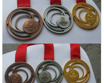 2014 Commonwealth Games Medal Set Gold/Silver/Bronze with Ribbons