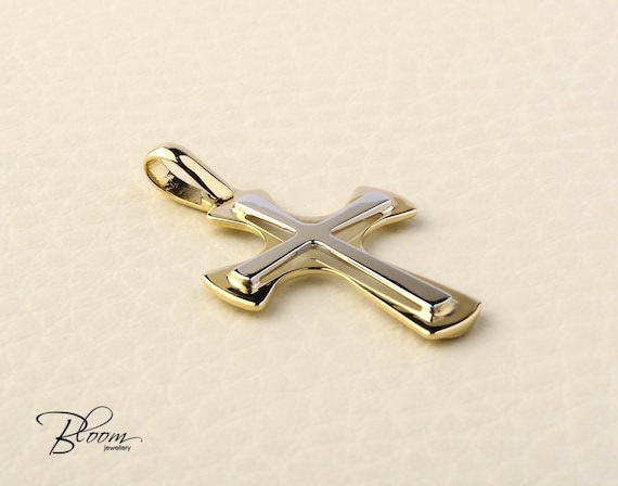 Gold cross pendant 14k solid gold cross necklace two tone gold like this item aloadofball Image collections