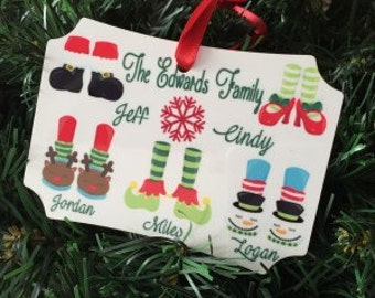 Stocking Feet Personalized Family Ornament