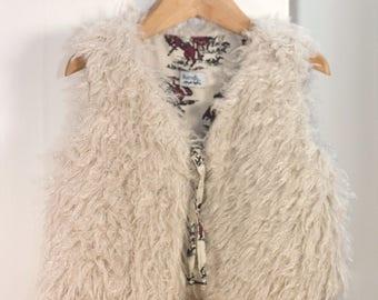 Shepherd reversible vest faux fur fluffy and vintage cotton