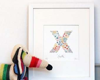 X Print Personalised Limited Edition Alphabet Letter, children's bedroom decor, nursery wall art, baptism gift, new mum present, name gift