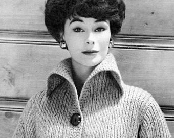 Women's 1960s Vintage Collared Car Coat -- PDF KNITTING PATTERN