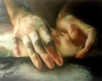 Original Oil Painting Hands Making Bread - Hands Painting - Love Painting - Working Hands - Mothers Hands - Original Christmas Gift