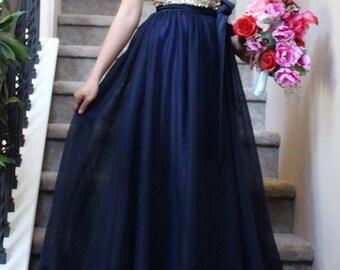 Navy blue elsastic tulle skirt/ blue skirt / stretchy waistband tutu skirt floor length / bridesmaids skirt / bridal skirt / tulle skirt wit