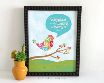 Rejoice In The Lord Always | Catholic Scripture Art | 8x10 Print