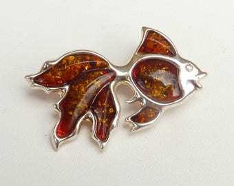Baltic Amber Jewelry Fish Pin Cognac Sparkling Natural 925 silver