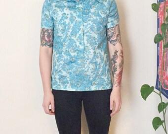 Vintage Mod Shirt | 70s Clothing Blue Paisley Shirt | Short Sleeve Shirt | Floral Shirt Collared