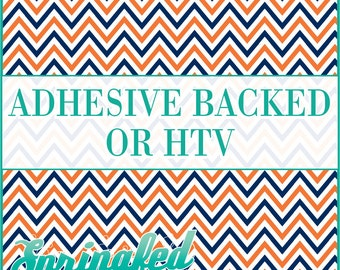 Orange, Navy Blue & White Chevron Stripes Pattern #4 Adhesive or HTV Heat Transfer Vinyl for Shirts Crafts and More!
