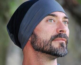 Men's Hat - Beanie - Slouchy Hat - Organic Clothing  -  Gray Black - Eco Friendly