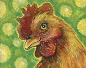 Chicken Art, Happy Brown Chicken, Original Oil Painting, Bird Art, Bright Art,