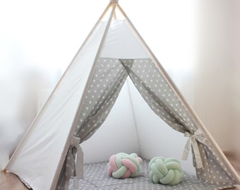 Teepee white gray stars Kids teepee tent Nursery decor Teepee kids Play tent Kids teepee tent Baby gifts Playhouse Gray star Princess