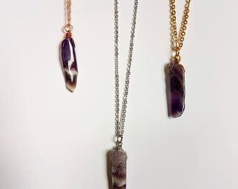Anti tarnish wire wrap Amethyst necklace,Stainless steel necklace,Bohemian jewelry,boho necklace,Sterling silver necklace,Crystal Necklaces