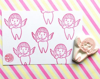 tooth fairy rubber stamp | little angel stamp | diy tooth fairy note letter pillow gift | family crafts | hand carved by talktothesun