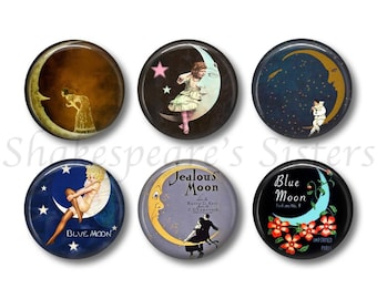 Beautiful Moon Art Magnets - Refrigerator Magnets - Set of 6 Magnets - 1.5 Inch Magnets - Artsy Kitchen