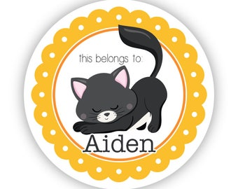 Cat Label Stickers - Yellow Orange Kitten Stickers, Black Cat Name Tag, Kitten Personalized Name Label Stickers - Back to School Name Labels