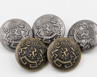 6 Pcs 0.59~1.18 Inches Retro Bronze/Anti-silver Lions Crown Metal Shank Buttons For Jeans Coats Sweaters