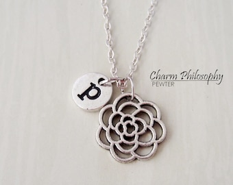 Flower Initial Necklace - Antique Silver Flower Jewelry - Personalized Monogram Initial Necklace