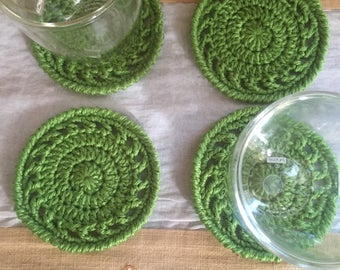 Set of four green coasters, green colored coasters, coasters, coffee coasters, mug coasters, green dollies