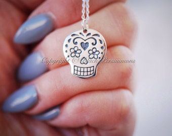 Yatzil Necklace - Large Mexican Sugar Skull Sterling Silver Dia de los Muertos Halloween Day of the Day Dead - Insurance Included