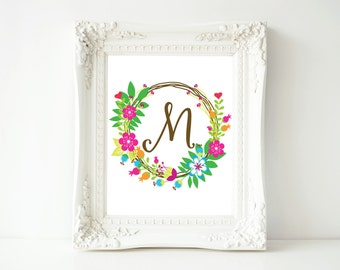 "Monogram printable art, Letter M, 8x10 Printable Wall Art, ""M"" Monogram Initial, Nursery Art, Home Art, Dorm room art"
