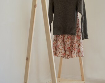 Hand Made Clothes Rack & Rail with a shelf , from Pine Wood; Elegant and Modern