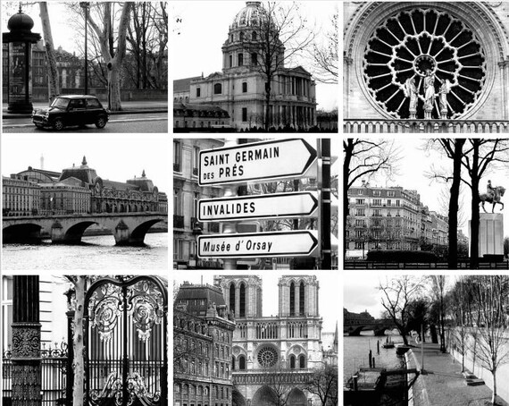 Items similar to travel photography paris france collage in black and white architectural french landscape monochromatic fine art photography on etsy