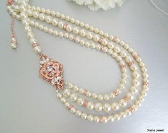 bridal rose Gold pearl necklace, swarovski crystal necklace, ivory Pearl and Rhinestone necklace, wedding Rhinestone necklace, ROSELANI