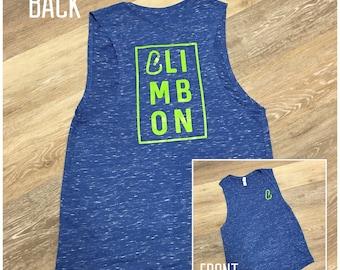Climb On - Women's comfy rock climbing muscle tank top, carabiner, bright, blue, green tank top