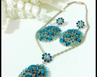 Blue Crystal Bridal Earring Set,Sapphire Crystal Jewelry Set, Crystal Statement Necklace Set,Trendy Bridal Necklace Set,Marquise Jewelry Set