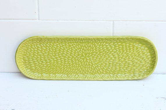 textured oval plate // ceramic platter // flower plate // lime dish