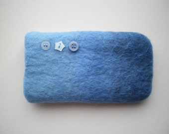 Blue shaded wet felted wool mobile phone/glasses case